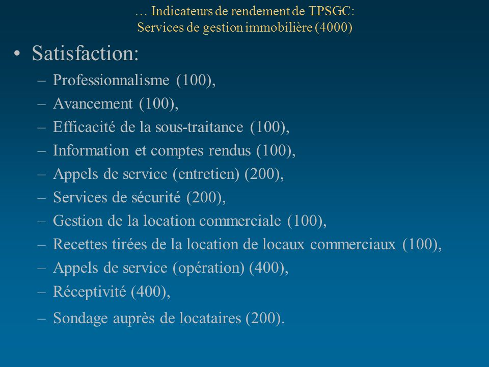 Satisfaction: Professionnalisme (100), Avancement (100),