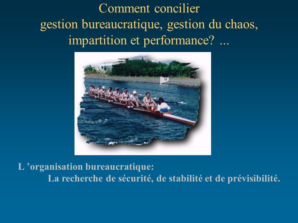 Comment concilier gestion bureaucratique, gestion du chaos, impartition et performance ...