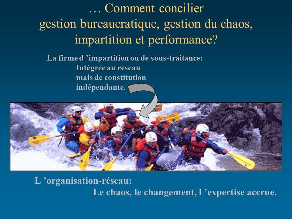 … Comment concilier gestion bureaucratique, gestion du chaos, impartition et performance