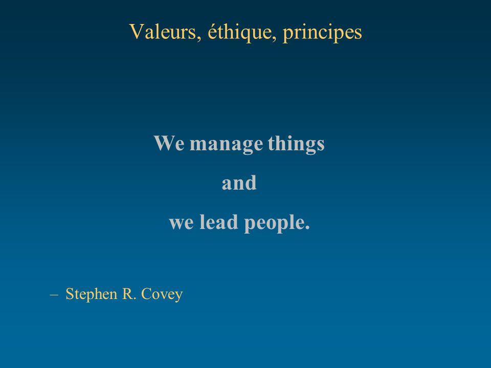 Valeurs, éthique, principes