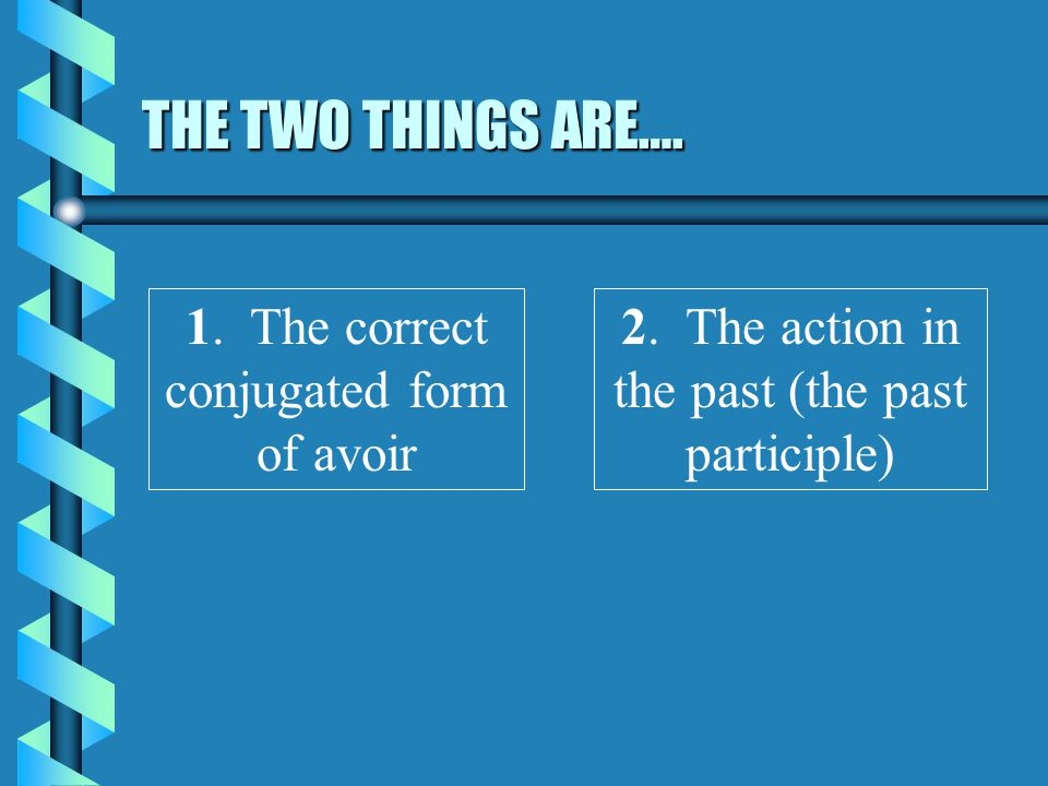 THE TWO THINGS ARE…. 1. The correct conjugated form of avoir