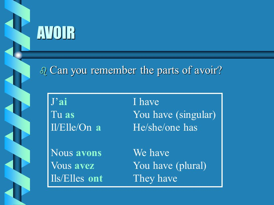 AVOIR Can you remember the parts of avoir J'ai I have