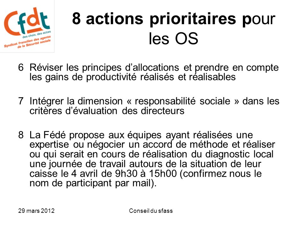 8 actions prioritaires pour les OS