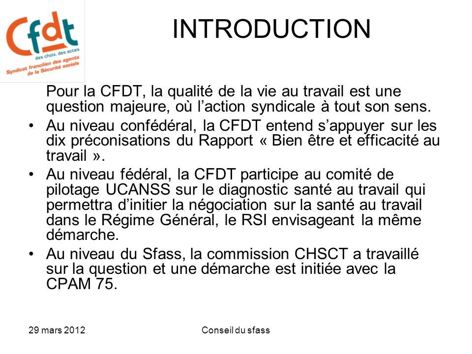 INTRODUCTION Pour la CFDT, la qualité de la vie au travail est une question majeure, où l'action syndicale à tout son sens.