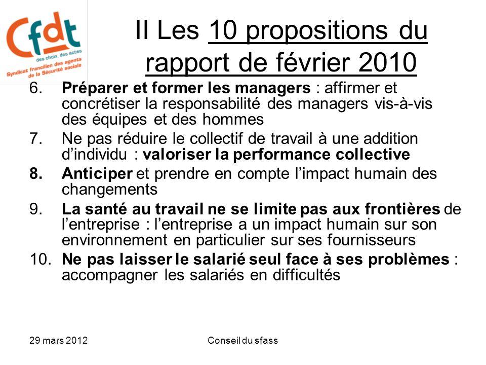 II Les 10 propositions du rapport de février 2010