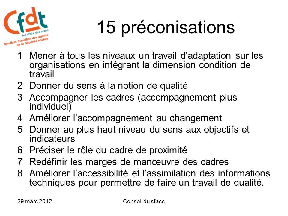 15 préconisations 1 Mener à tous les niveaux un travail d'adaptation sur les organisations en intégrant la dimension condition de travail.