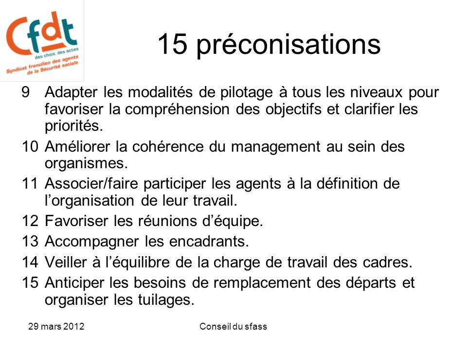 15 préconisations Adapter les modalités de pilotage à tous les niveaux pour favoriser la compréhension des objectifs et clarifier les priorités.