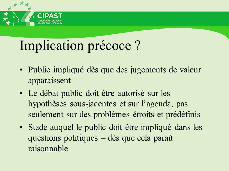Implication précoce Public impliqué dès que des jugements de valeur apparaissent.