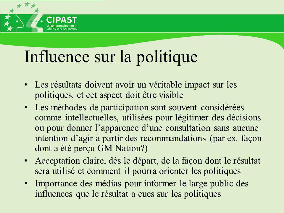 Influence sur la politique