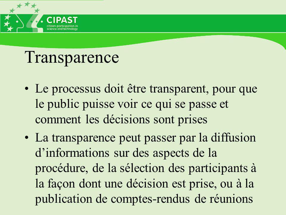 Transparence Le processus doit être transparent, pour que le public puisse voir ce qui se passe et comment les décisions sont prises.