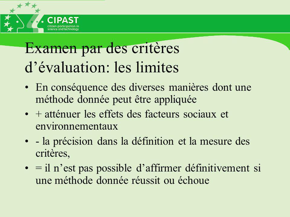 Examen par des critères d'évaluation: les limites