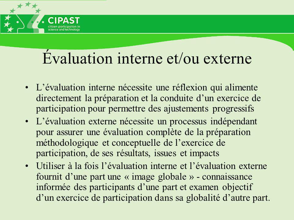 Évaluation interne et/ou externe