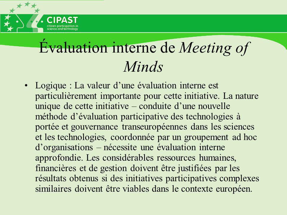 Évaluation interne de Meeting of Minds
