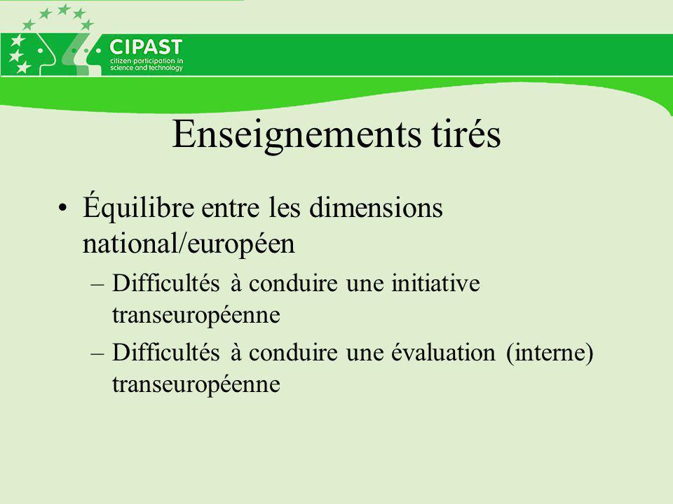 Enseignements tirés Équilibre entre les dimensions national/européen