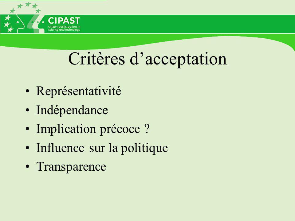 Critères d'acceptation