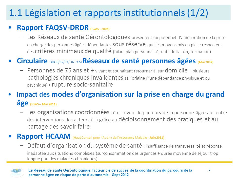 1.1 Législation et rapports institutionnels (1/2)