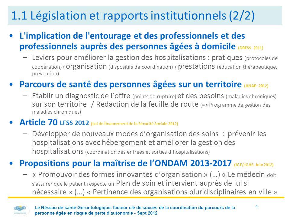 1.1 Législation et rapports institutionnels (2/2)
