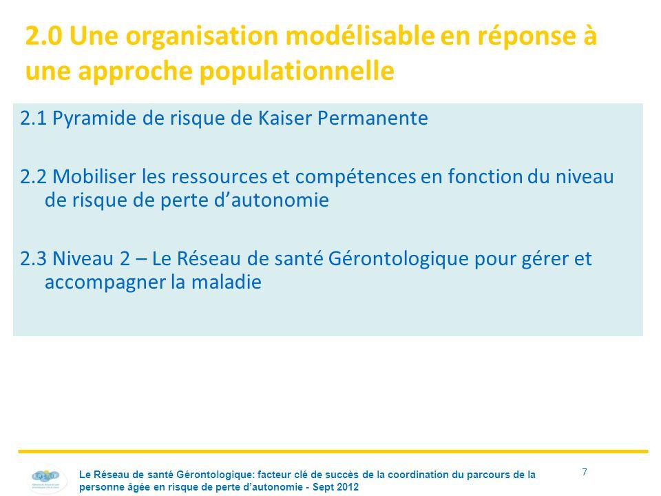 2.0 Une organisation modélisable en réponse à une approche populationnelle