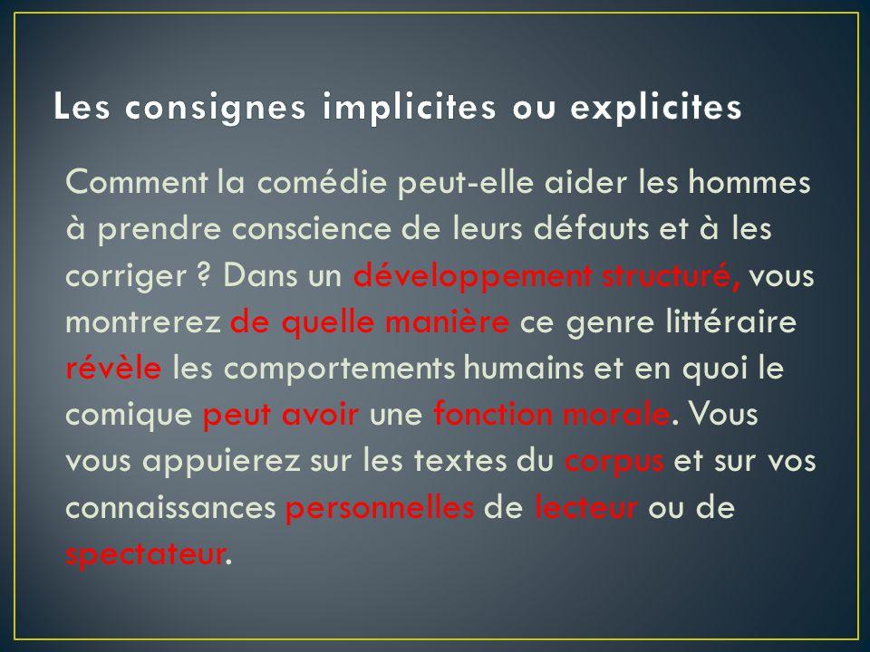 Les consignes implicites ou explicites