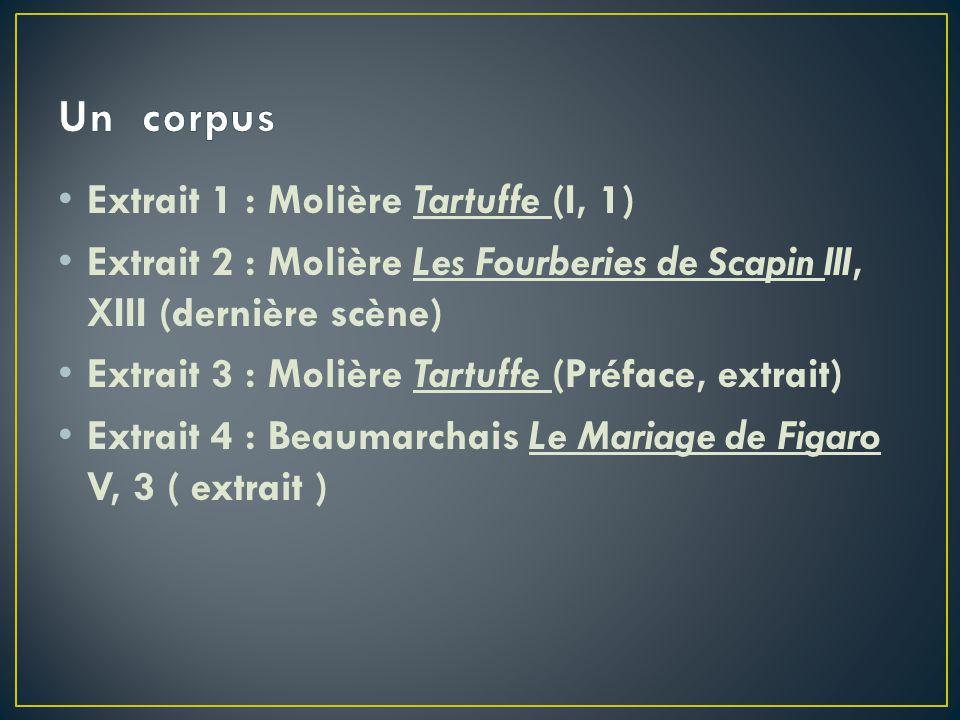 Un corpus Extrait 1 : Molière Tartuffe (I, 1)
