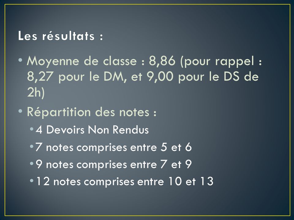 Répartition des notes :