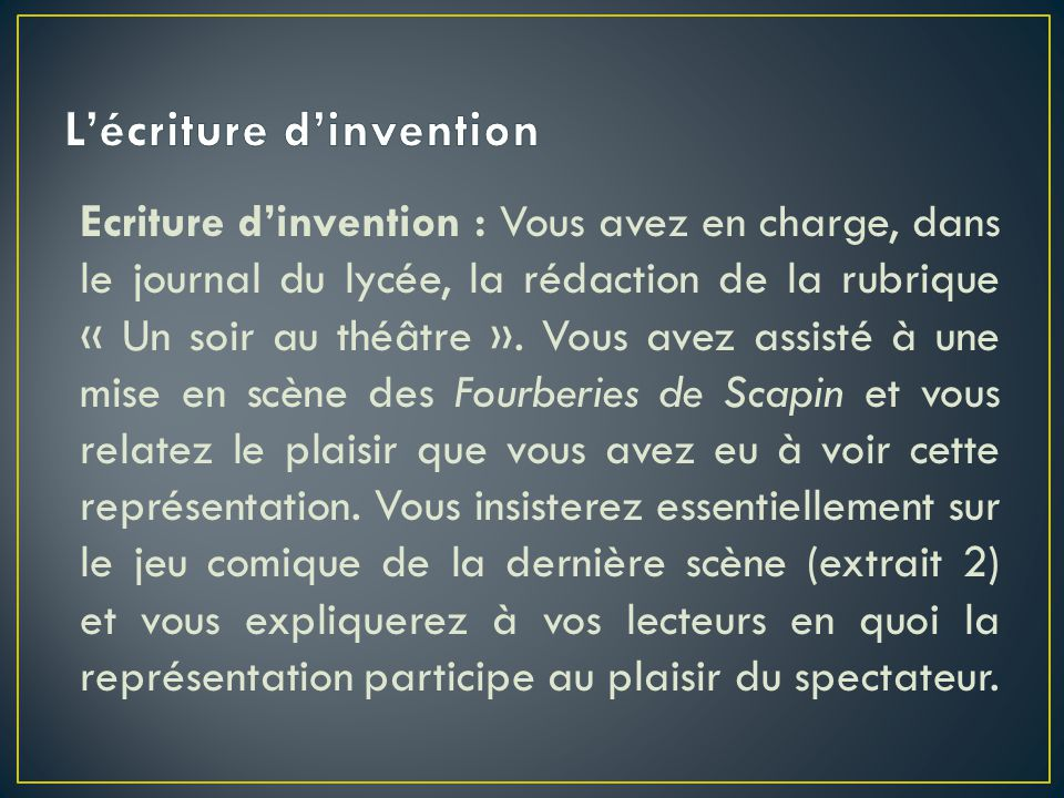 L'écriture d'invention