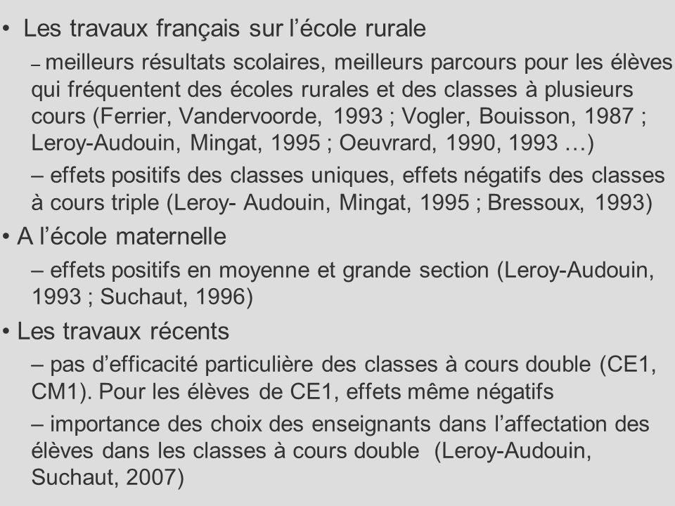 Les travaux français sur l'école rurale