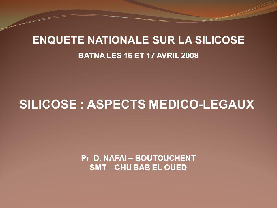 SILICOSE : ASPECTS MEDICO-LEGAUX