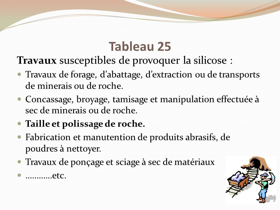 Tableau 25 Travaux susceptibles de provoquer la silicose :