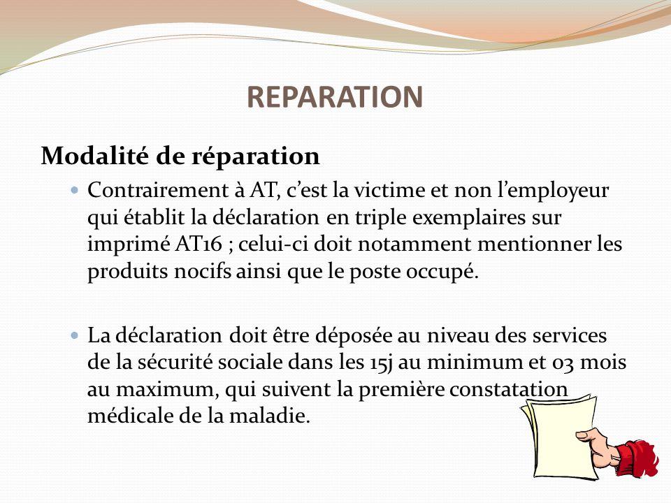 REPARATION Modalité de réparation