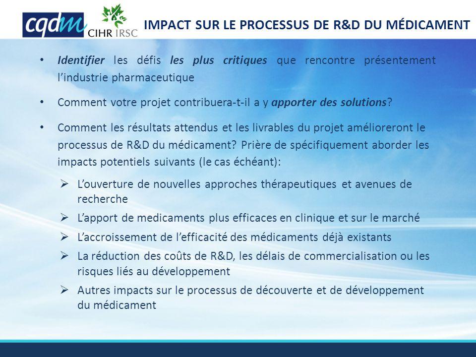 IMPACT SUR LE PROCESSUS DE R&D DU MÉDICAMENT