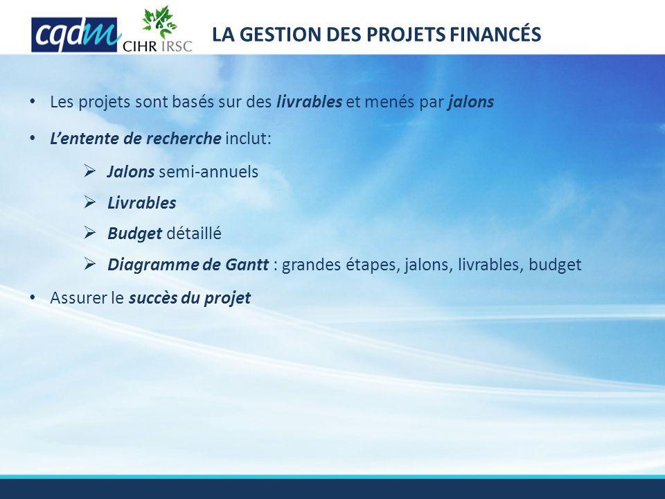 LA GESTION DES PROJETS FINANCÉS