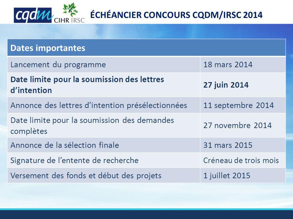 ÉCHÉANCIER CONCOURS CQDM/IRSC 2014 Dates importantes