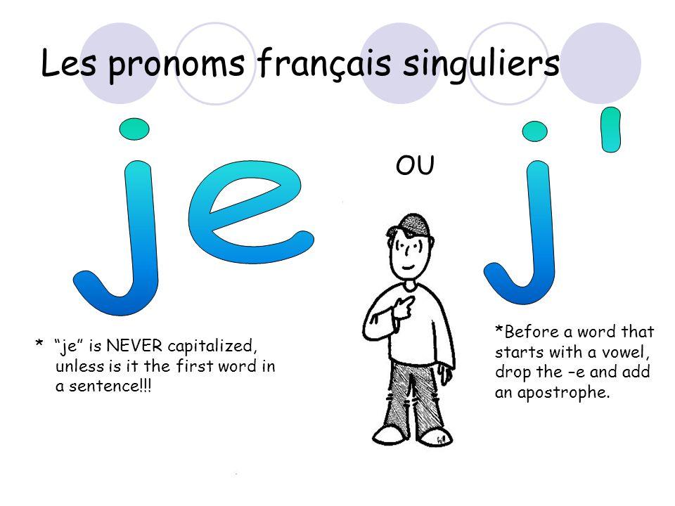 Les pronoms français singuliers