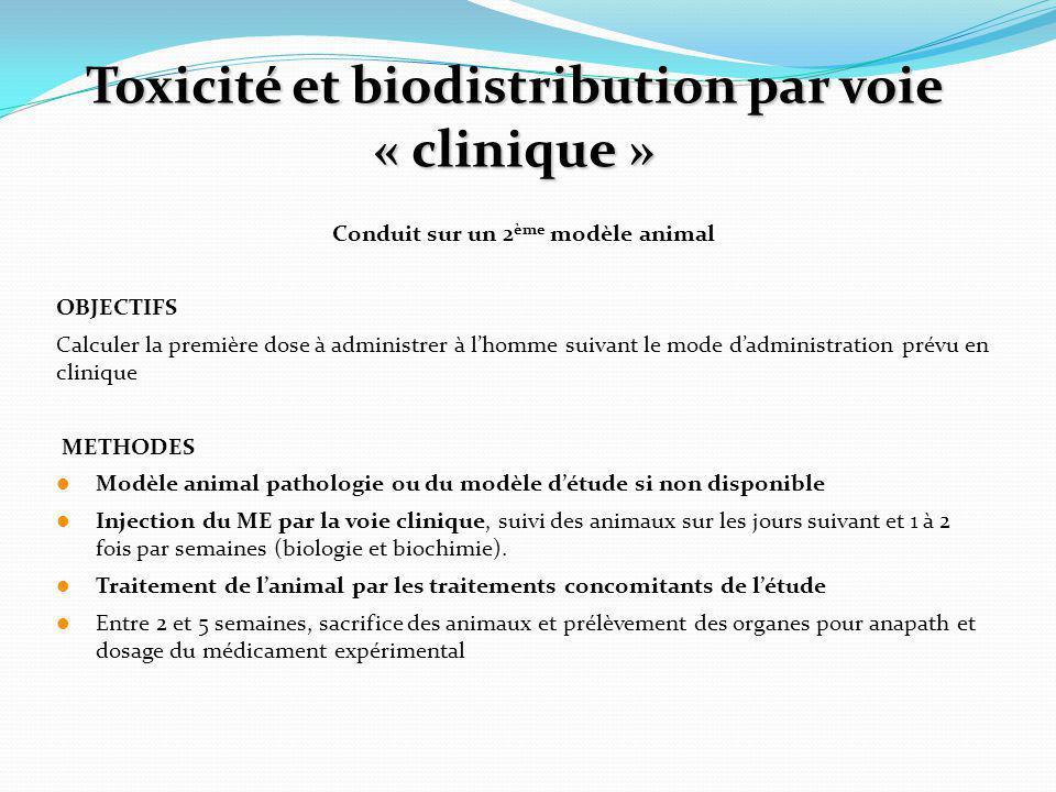 Toxicité et biodistribution par voie « clinique »