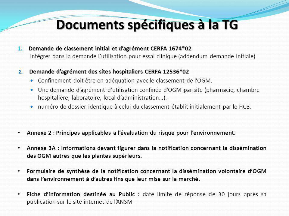 Documents spécifiques à la TG