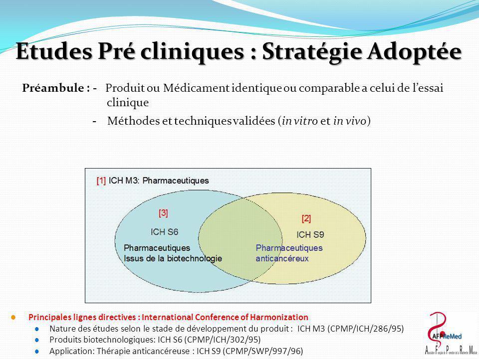 Etudes Pré cliniques : Stratégie Adoptée