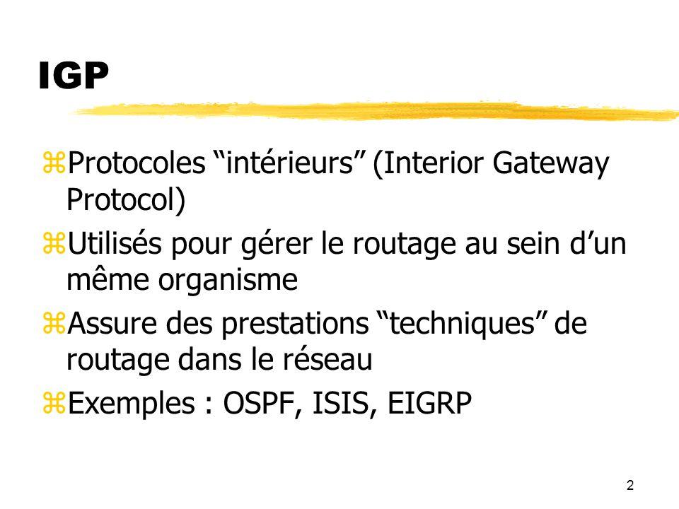 IGP Protocoles intérieurs (Interior Gateway Protocol)