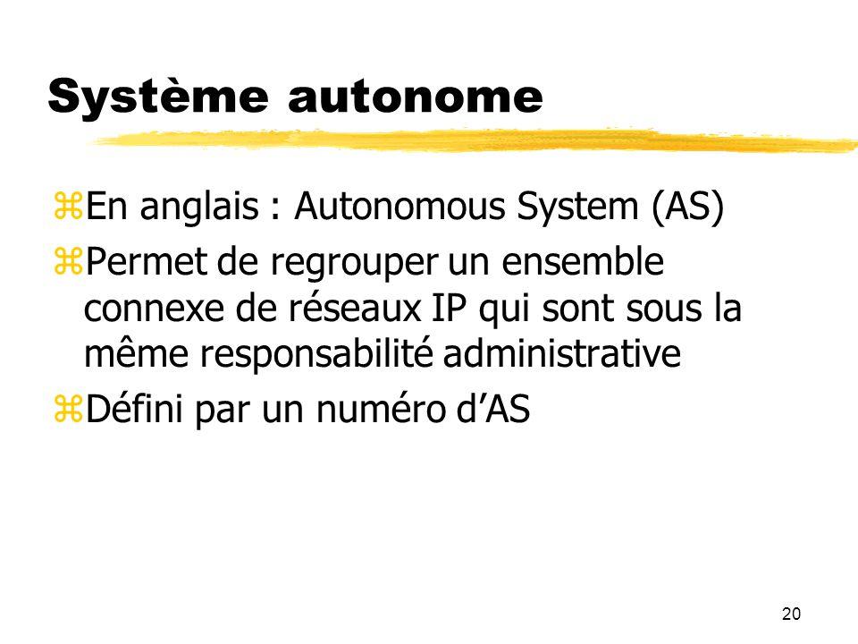 Système autonome En anglais : Autonomous System (AS)