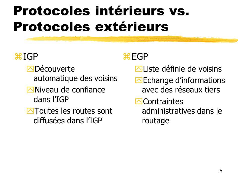 Protocoles intérieurs vs. Protocoles extérieurs
