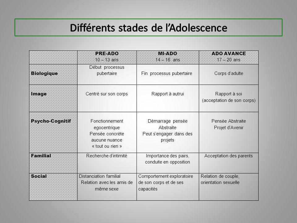 Différents stades de l'Adolescence