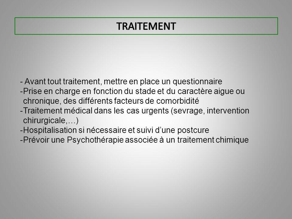 TRAITEMENT - Avant tout traitement, mettre en place un questionnaire