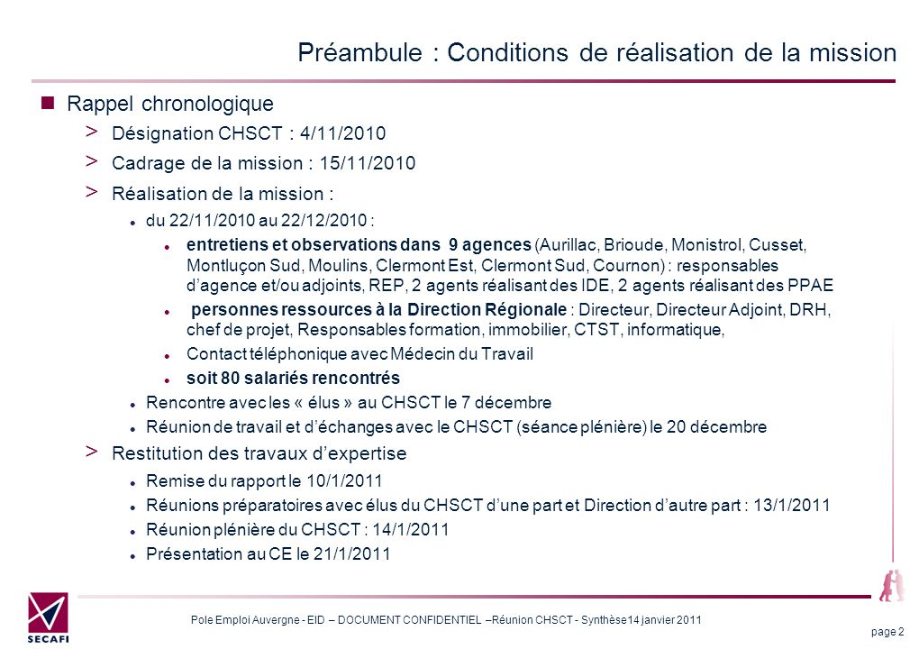 Préambule : Conditions de réalisation de la mission