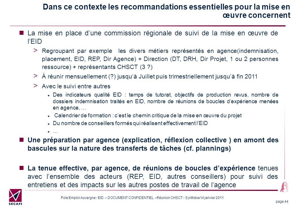 Dans ce contexte les recommandations essentielles pour la mise en œuvre concernent