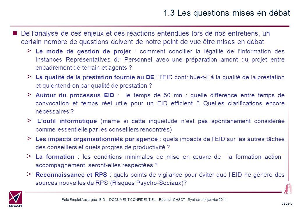 1.3 Les questions mises en débat