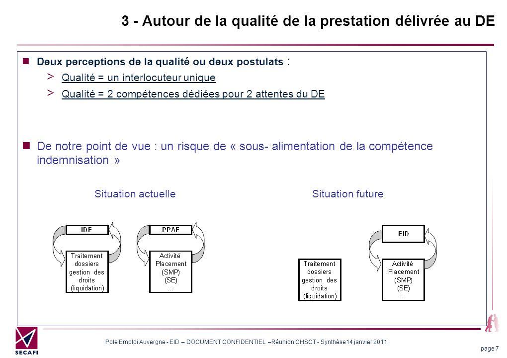 3 - Autour de la qualité de la prestation délivrée au DE