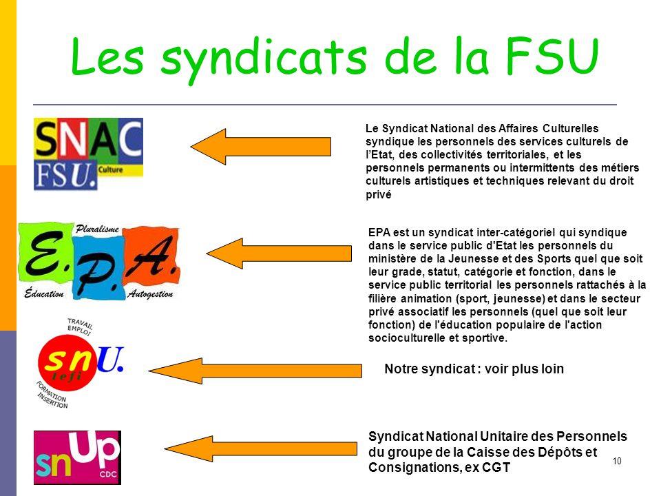 Les syndicats de la FSU Notre syndicat : voir plus loin