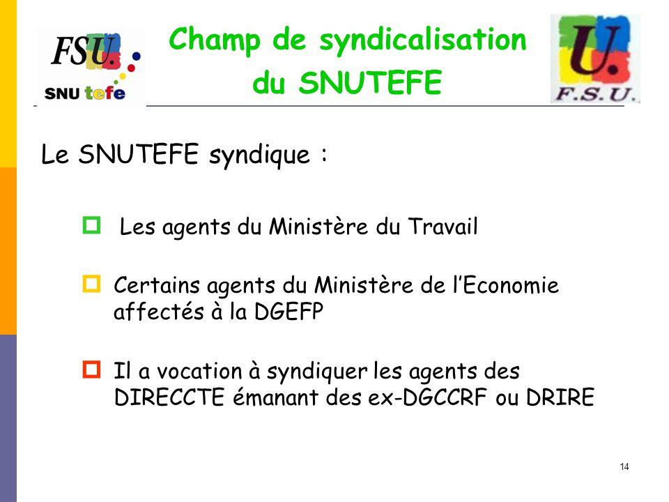 Champ de syndicalisation du SNUTEFE