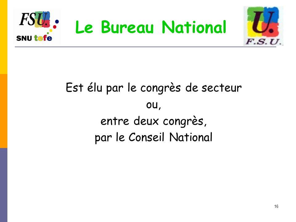 Le Bureau National Est élu par le congrès de secteur ou,