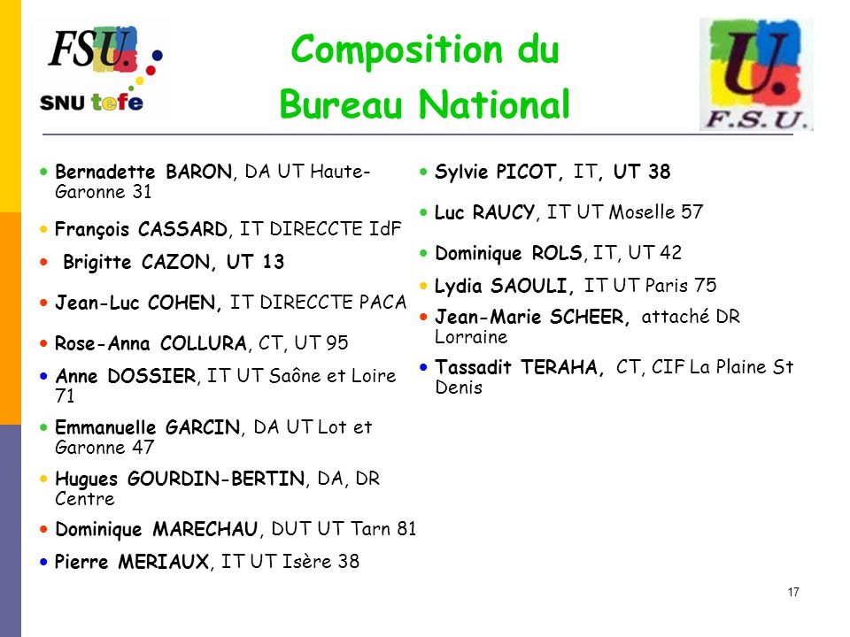 Composition du Bureau National